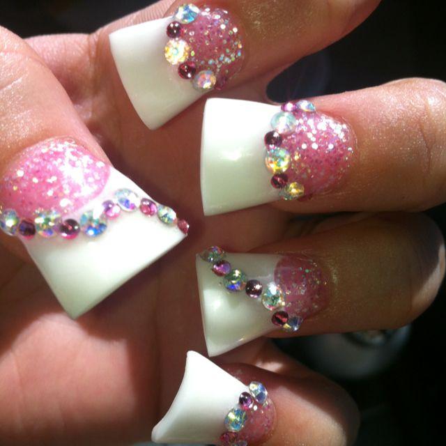 Pink & White gel duck feet acrylic nails with glitter & rhinestones ...