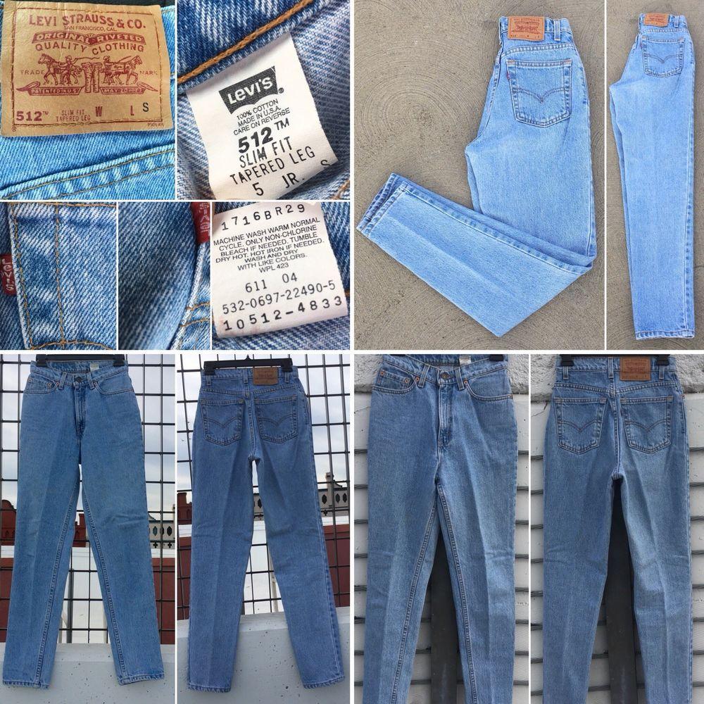 "e665087d66e Vintage Levi's 512 Jeans High Waist Tapered Leg Slim Fit Sz 5 25 1/2"" Waist  USA   eBay"