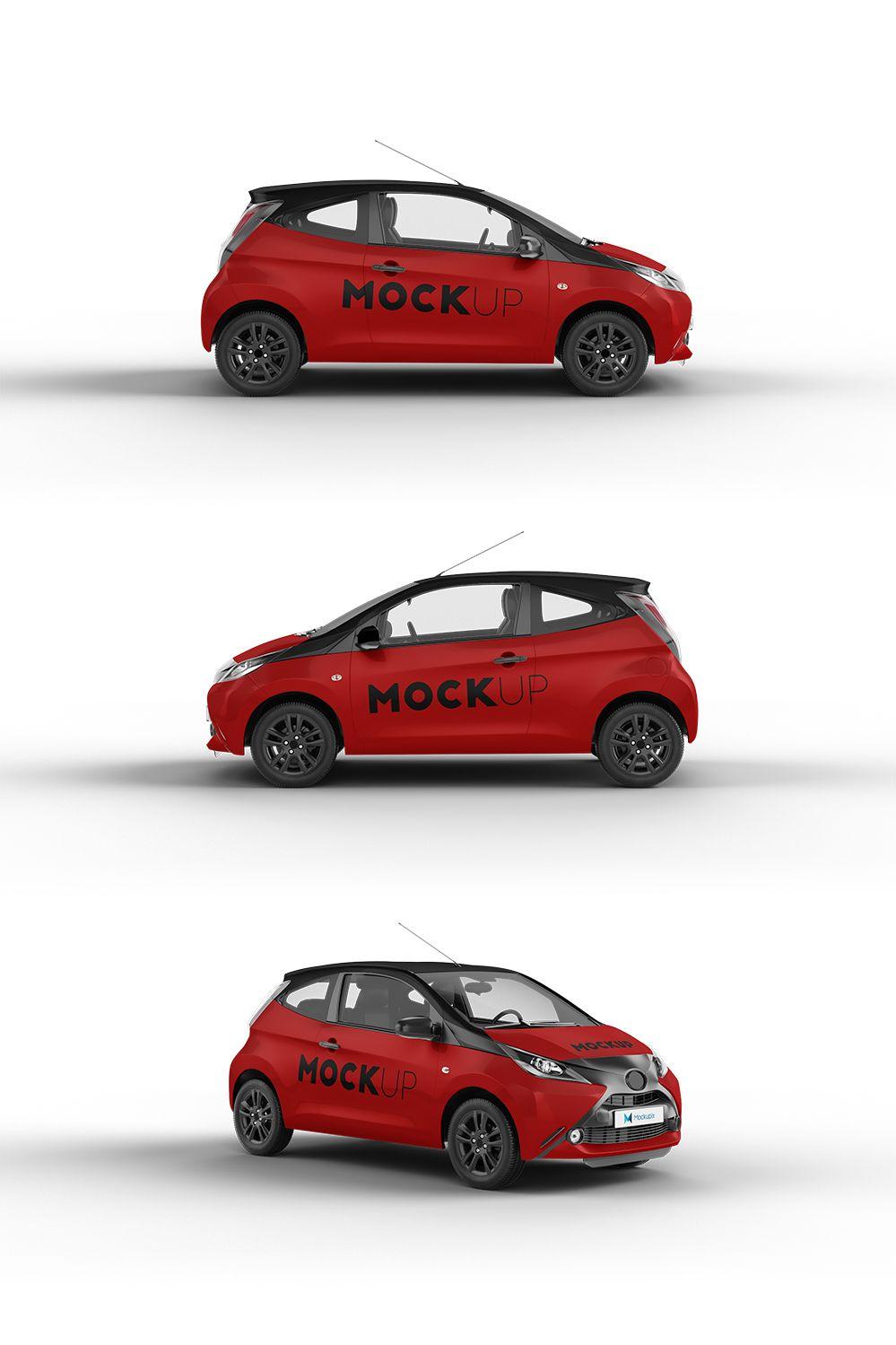 Realistic Toyota Aygo Car Mockup 6 Psd Files Vehicle Toyota Creativemarket Graphicdesign Carwraps Car Painting Branding Corpor Mockup Car Toyota Aygo