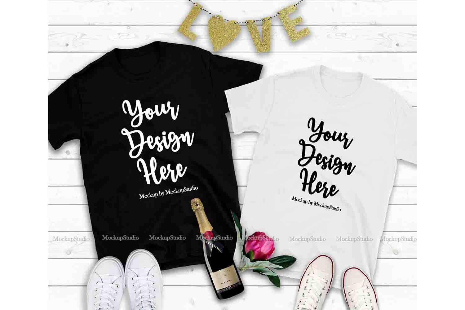 Download Couple Two T Shirts Mockup Valentine Shirt Mock Up Flat Lay 183340 Clothing Design Bundles Shirt Mockup Design Mockup Free Tshirt Mockup
