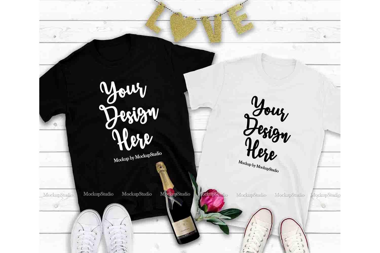 Download Couple Two T Shirts Mockup Valentine Shirt Mock Up Flat Lay 183340 Clothing Design Bundles Shirt Mockup Design Mockup Free Valentines Shirt