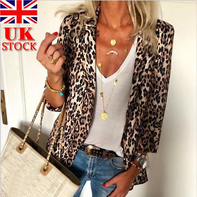 UK Plus Size Womens Leopard Print Coat Jacket Ladies Autumn Party Outwear Tops