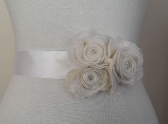 Bridal Sash Bridal Belt Wedding Sash or prom with Rose Flowers and Swarvoski Crystal Sash. £36.00, via Etsy.