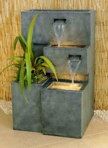 Fuente Cubos en Cascada de Agua con Luz jardín Pinterest Agua