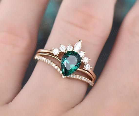 Photo of 6x8mm Emerald Engagement Ring Set Yellow Gold Diamond Ring Split Shank Moissanite Matching Band Unique Crown Wedding Bridal Promise Ring