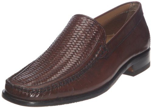 AwesomeNice Salamander Chestnut Brown Woven Leather Loafer