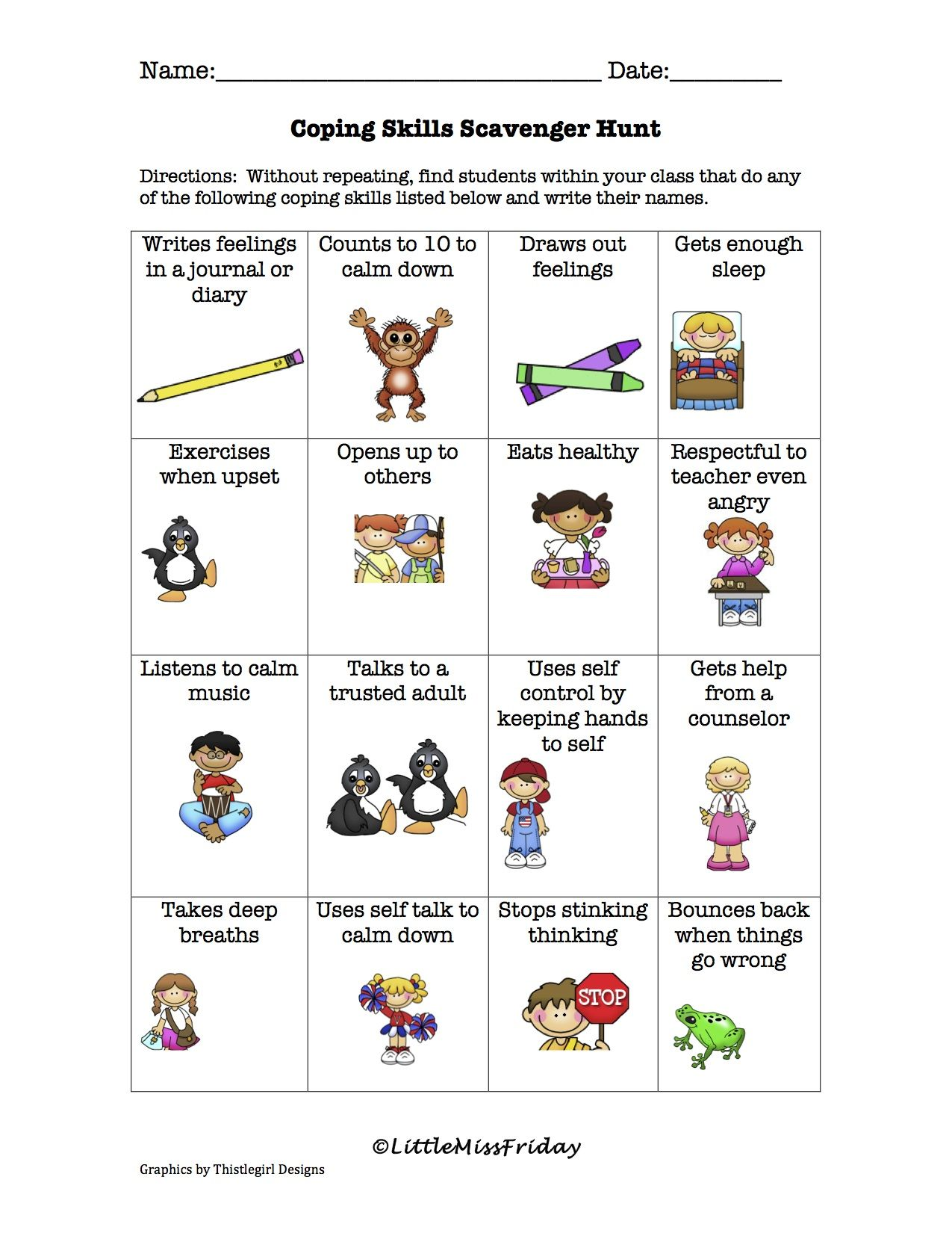 Coping Skills Scavenger Hunt Worksheet