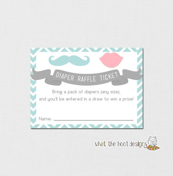 Printable Diaper Raffle Tickets - Gender Reveal Party - Mustache - free downloadable raffle ticket templates