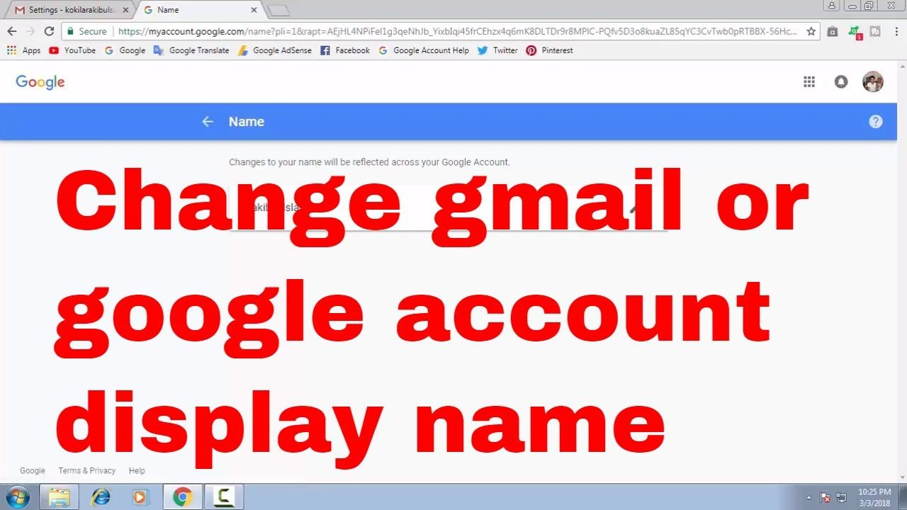 how to change or edit your gmail or google account display name bdnl