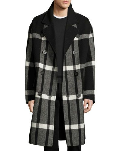 8f209974db1 Double-Breasted Large Check Overcoat