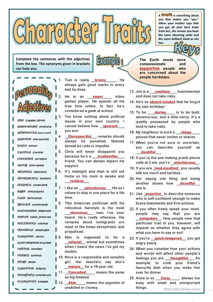 PERSONALITY ADJECTIVES 2 | English worksheets | Pinterest | Sprache ...