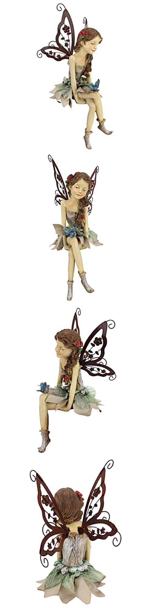 Fairy lawn ornaments - Statues And Lawn Ornaments 29511 Figurine Design Toscano The Fairy Sitting Statue Fannie Garden Decorative