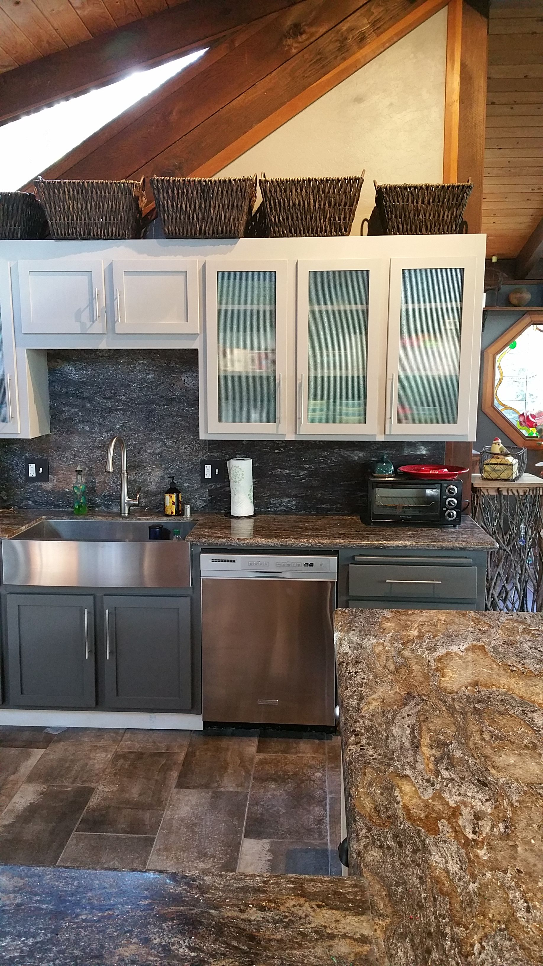 Updated The 1970 S Kitchen With Paint Granite Glass And Tile 1970s Kitchen Kitchen Kitchen Cabinets