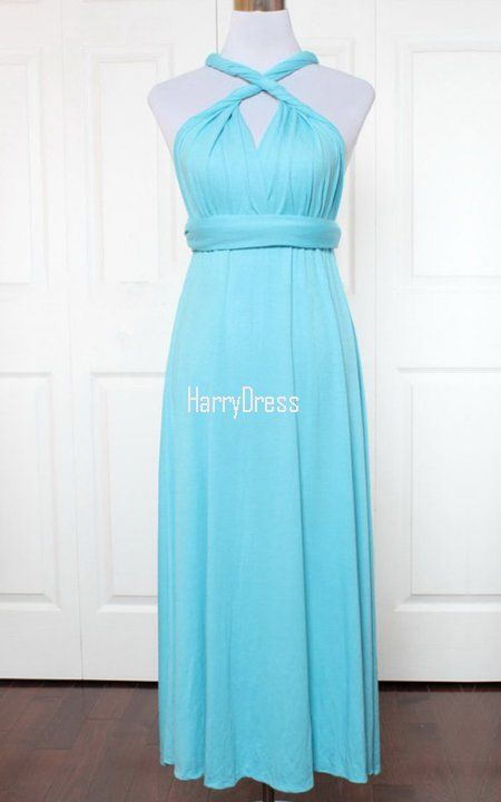 Light Green A Line V Neck Jersey Ankle Length Ruffles Bridesmaid Dress