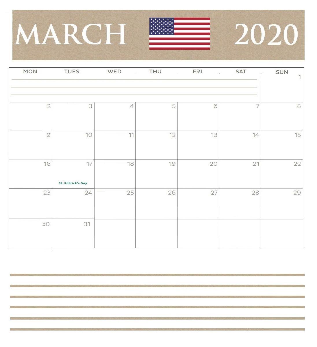 March 2020 Calendar USA Holidays Federal, National, Bank
