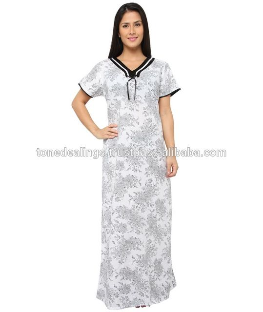 Source indian Women cotton night gown on m.alibaba.com | commande ...