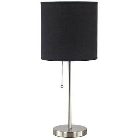 Mainstays Nickel Stick Table Lamp With Black Shade Cfl Bulb Included Walmart Com Table Lamp Lamp Decorative Table Lamps