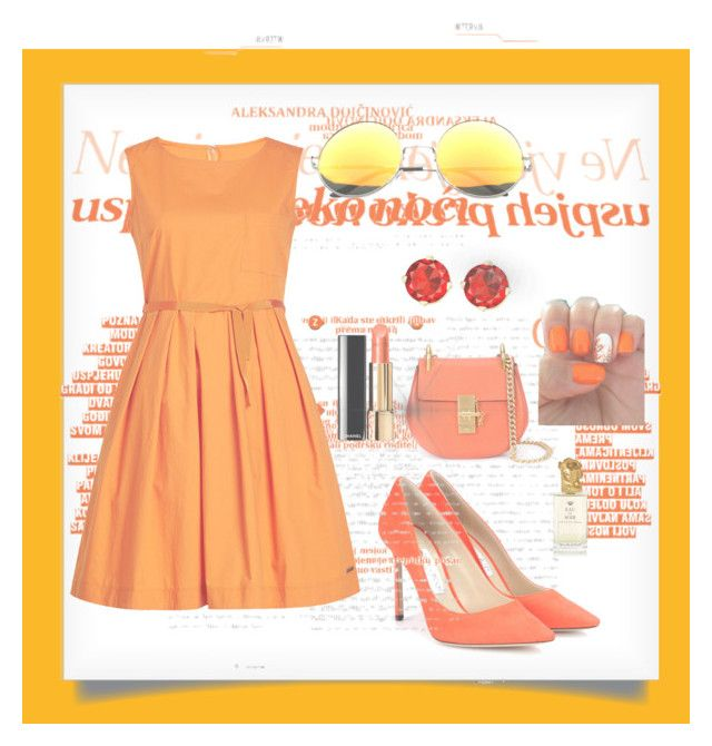 """Orange summer style, NY"" by gjerdrumdenice on Polyvore featuring Jimmy Choo, SW Global, Woolrich, Chloé and Sisley"