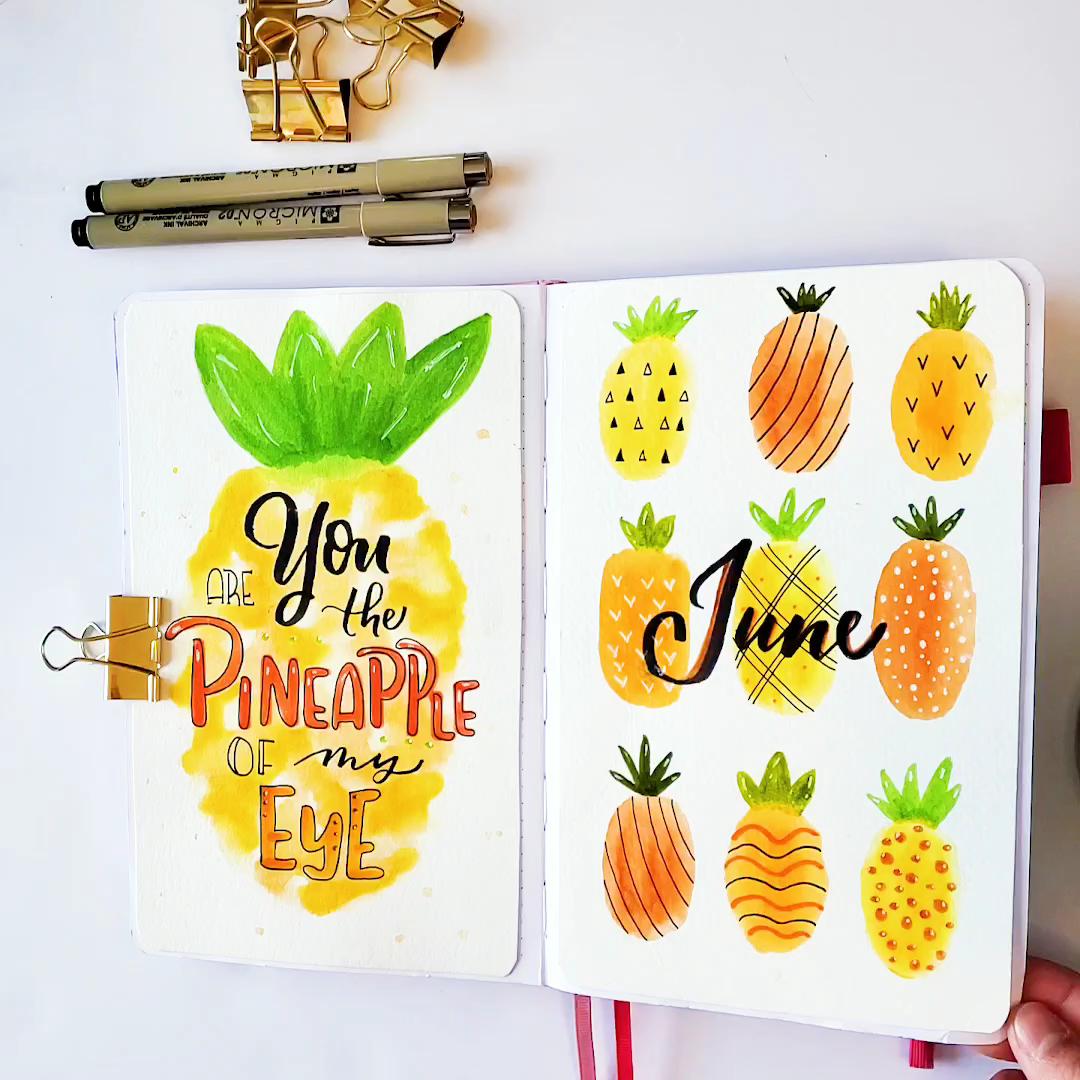 Photo of Bullet Journal Pineapple Theme Flip Through