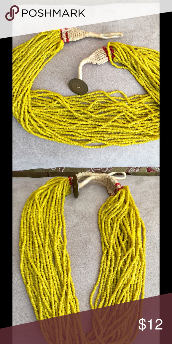 Yellow Seed Bead Multi-strand Necklace Handmade yellow seed bead necklace. 24 in. Button closure. Like new. Never worn. Jewelry Necklaces