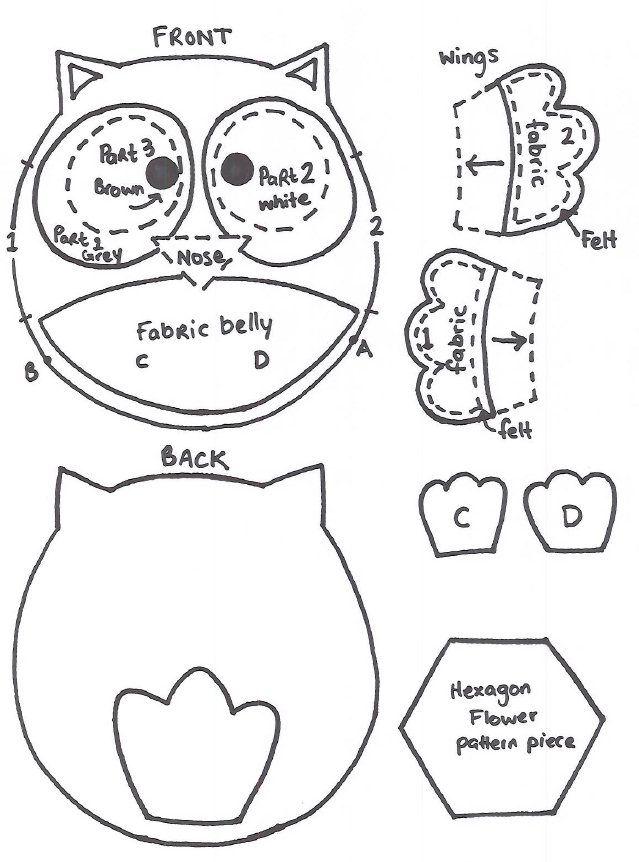 How to sew a Baby Felt Owl Pattern   Keçe   Pinterest   Owl patterns ...