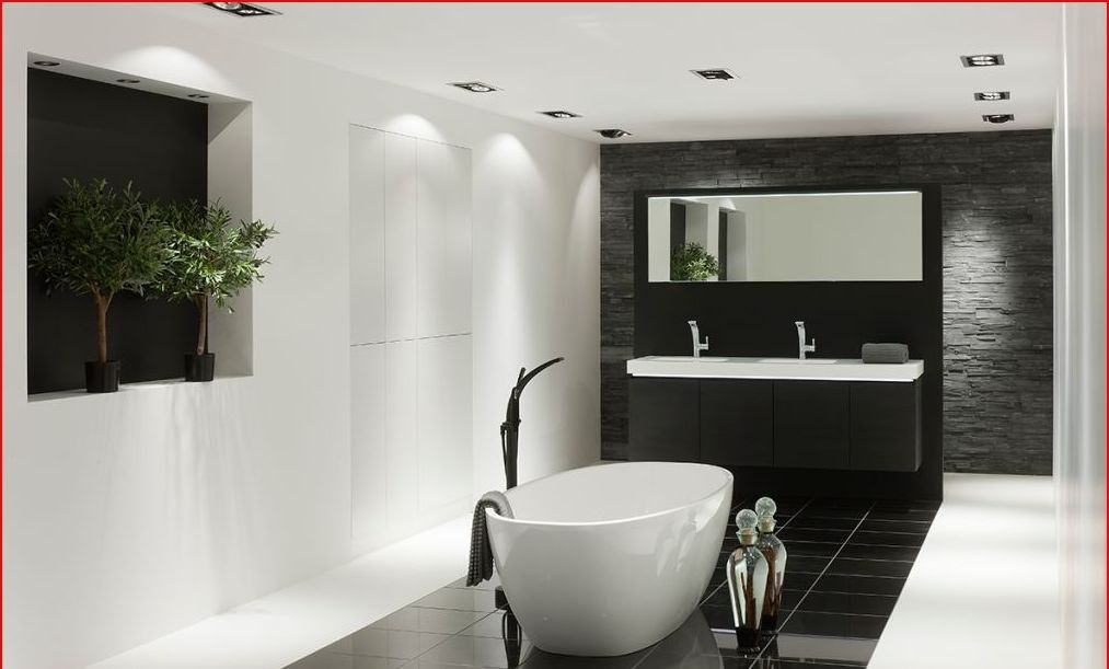 Mooie moderne wit zwarte badkamer bathrooms