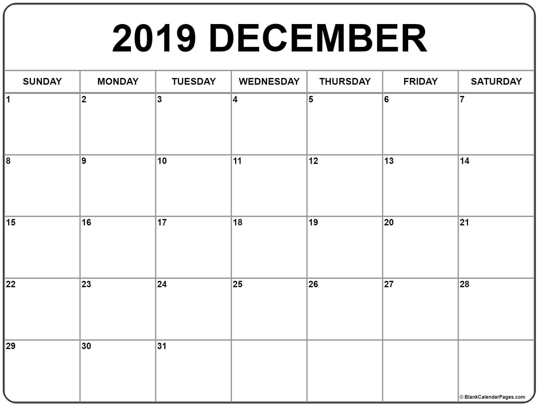 Blank Calendar December 2019 Printable Template Calendar