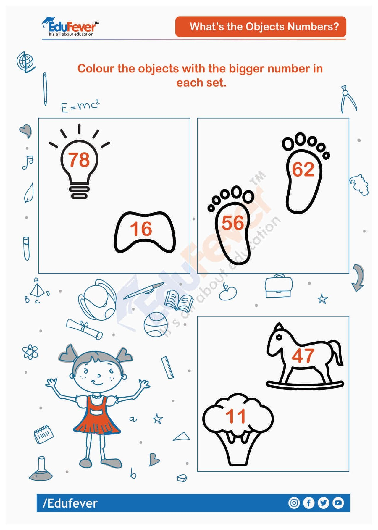 Colour Object With Bigger Number Ukg Worksheet Number Worksheets Math Worksheet Worksheets For Kids