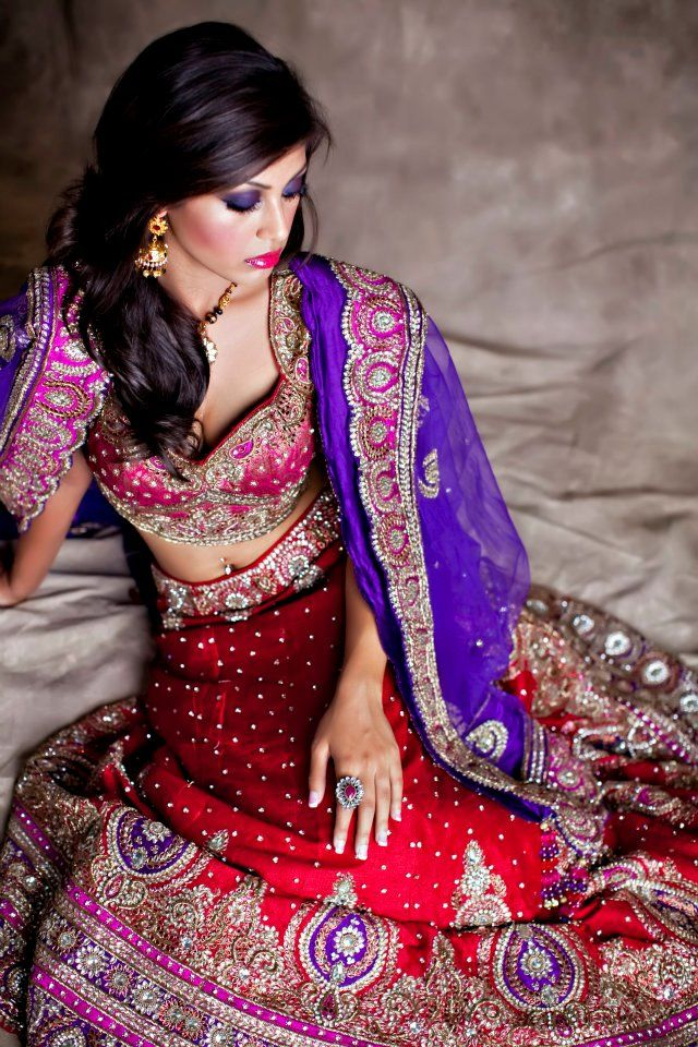 Red And Purple Bridal Lengha Indian Wedding Clothes Red Lehenga
