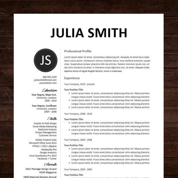 Resume / CV Template, Professional Resume Design For Word Mac Or PC, Free  Cover Letter, Creative, Modern   The Kate  Professional Resume Layout
