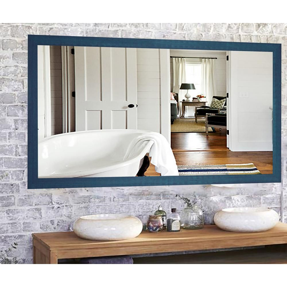 Rayne Mirrors 64 In X 35 In Country Cottage Blue Framed Double Vanity Mirror Products Mirror Pink Wall Mirrors Cottage Mirrors