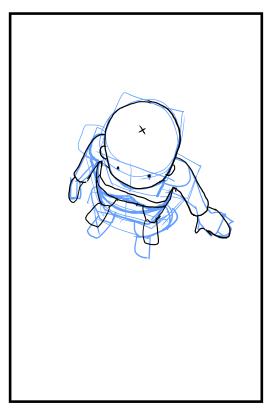 イラスト漫画 俯瞰視点上から見下ろすキャラクターの描き方