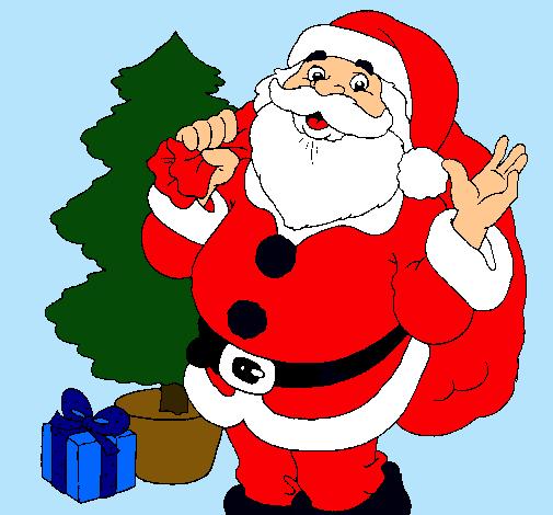 Dibujo De Santa Claus Y Un Arbol De Navidad Pintado Por Santaclaus En Dibujos Net El Dia 21 11 10 Dibujos Navidenos A Color Arbol De Navidad Dibujos De Navidad