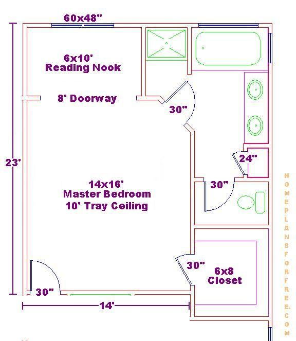 14x16 master bedroom floor plan with bath and walk in for Master bedroom and bath plans