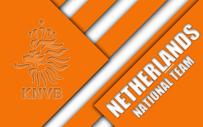 Download Wallpapers Netherlands National Football Team 4k Emblem Material Design Orange Abstraction Royal Netherlands Football Association Knvb Logo Foo National Football Teams Custom Soccer National Football