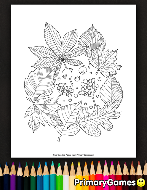 Fall Coloring Pages eBook: Leaves And Berries en 2018 | dibujos Zen ...