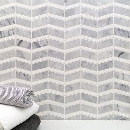 """Alerion Carrara And Thassos Marble Tile 