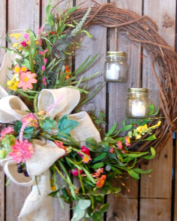 Spring Wreath Summer Wreath Indoor Wreath by HangingTouches