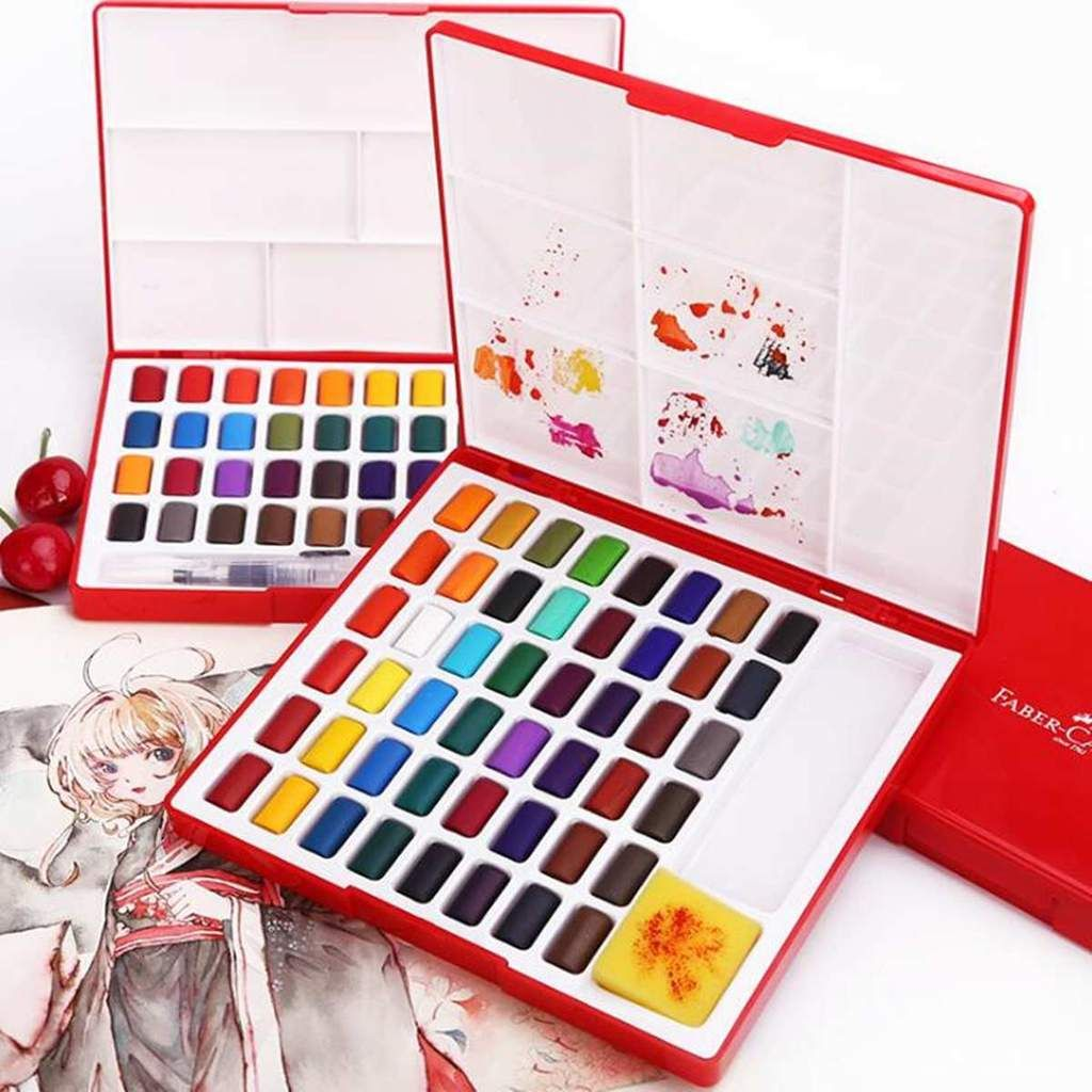 24 36 48 Colors Solid Watercolor Painting Set With Water Brush