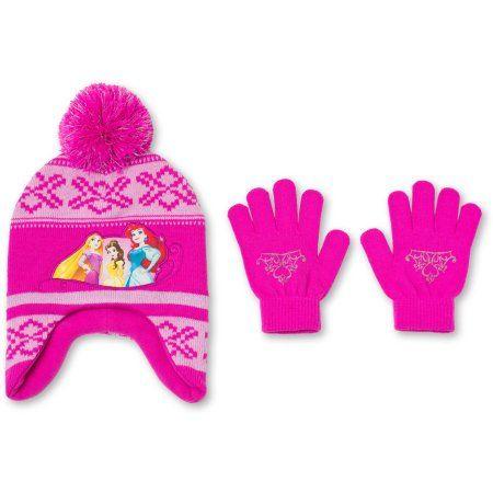 Pink Platinum Girls Cable Knit Pom Beanie W//Glove