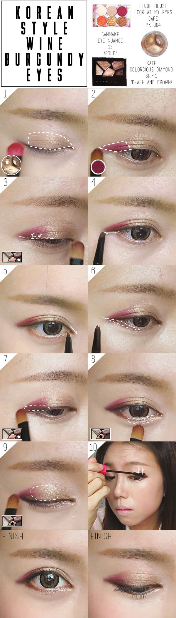 Korean Ulzzang Burgundy Makeup Fall Tutorial Pictorial