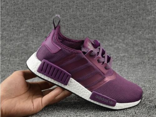 36a2e76bc8d ... Black Adidas NMD Runner R1 Primeknit Purple Women s Men s Running Shoes  eBay ...
