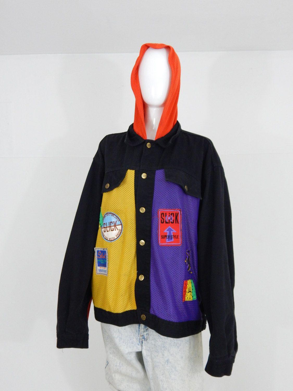 90s hip hop jacket cross color mesh and denim womens mens