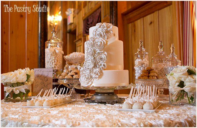Rosette Wedding Cake White Dessert Candy Bar At The Tavern And Chapel In The Garden By The