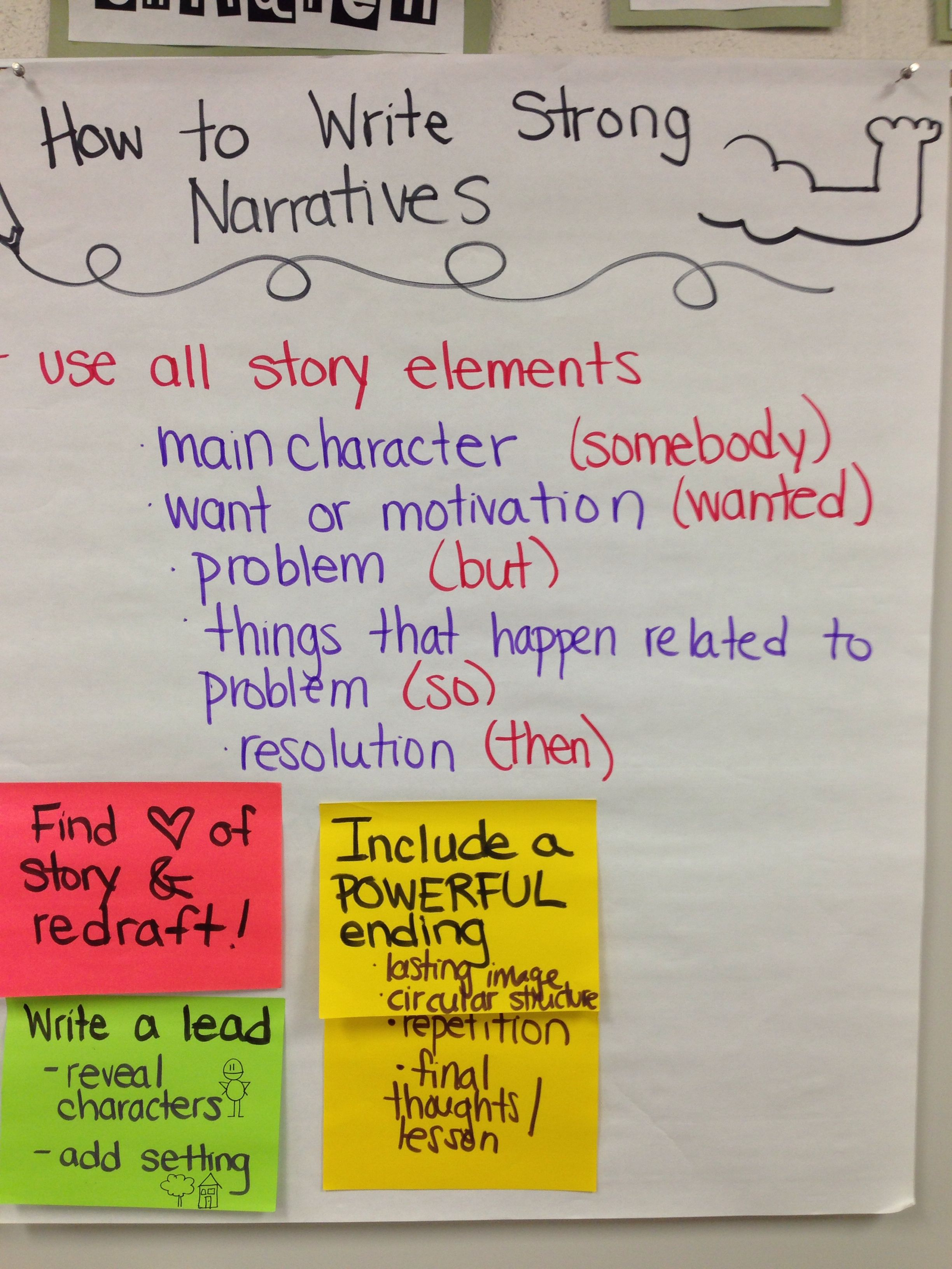 How to write strong narratives including story elements. #tcrwp
