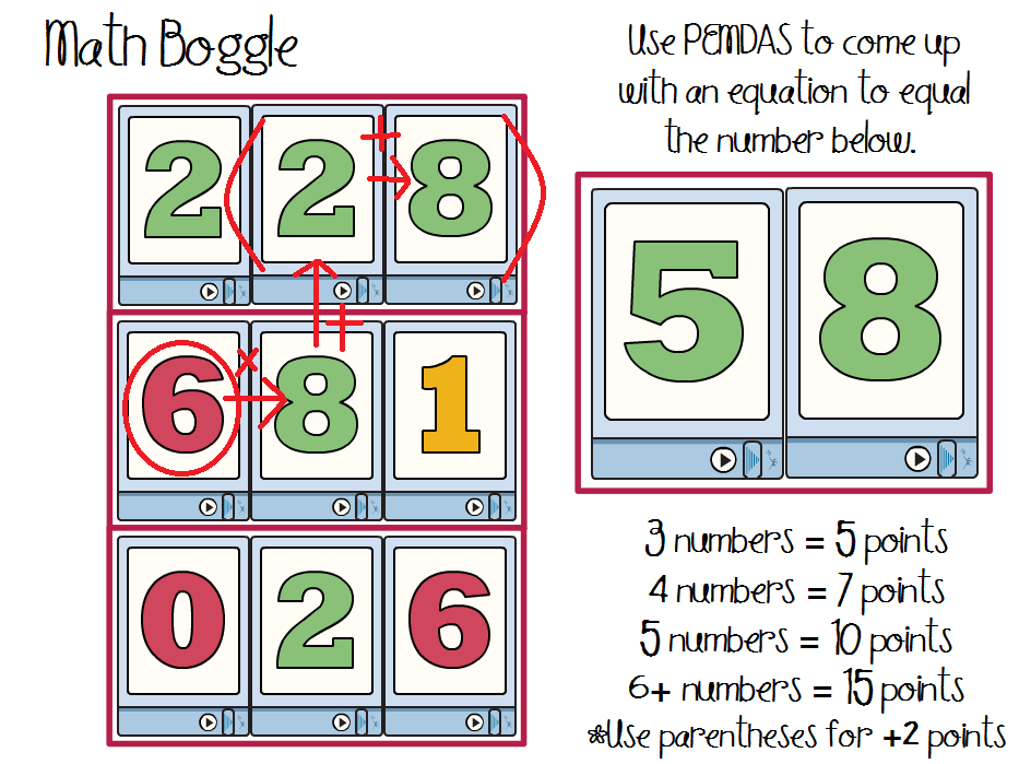 math boggle - order of operations practice