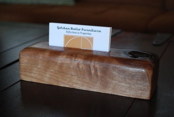 business card holder in solid walnut by golden ratio furniture