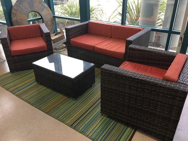 Santa Cruz Sunbrella 4 Piece Outdoor Patio Furniture Set Wicker Rattan  Features Brand New In Factory