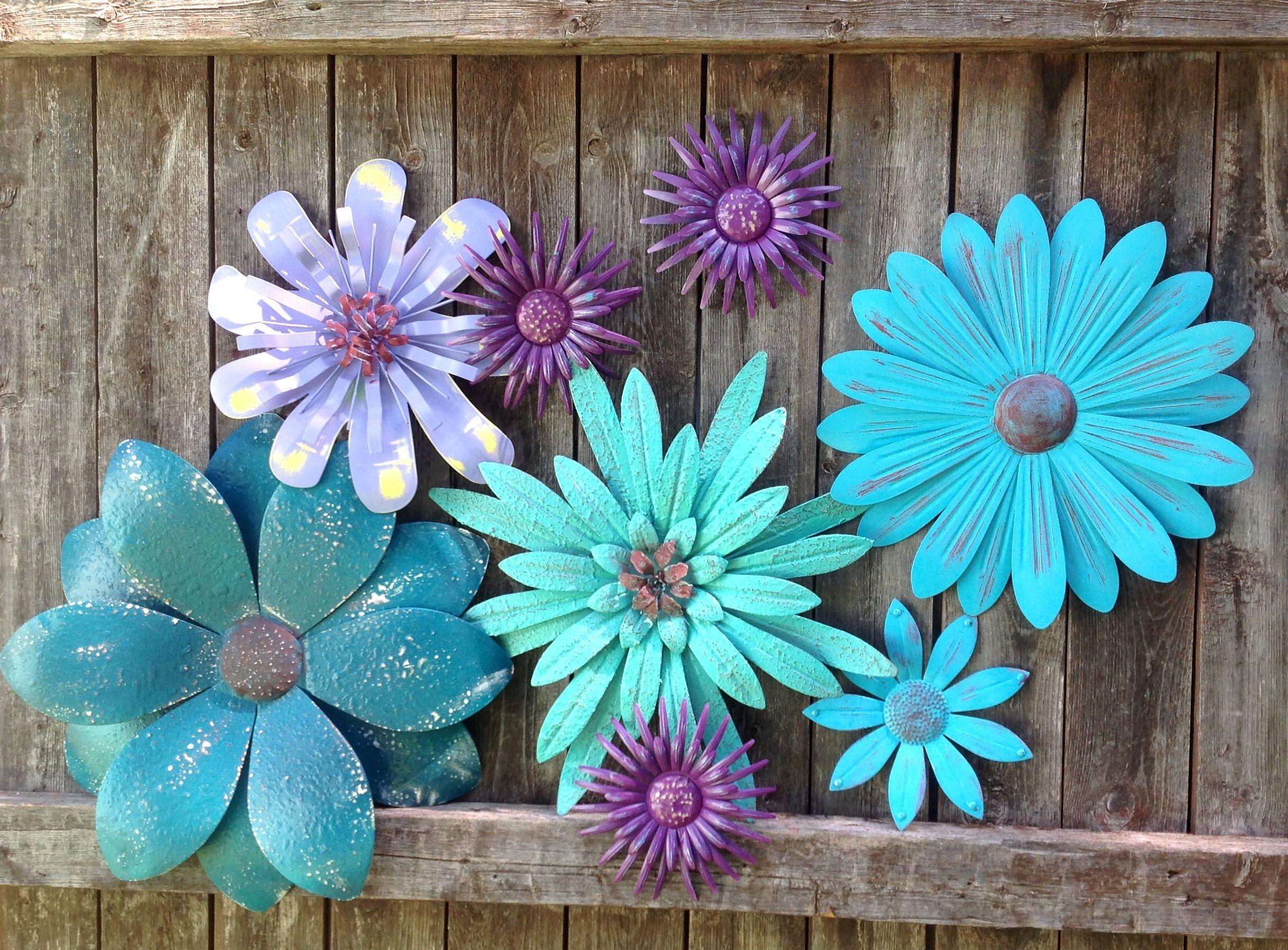 Teal Turquoise Mint Metal Fence Art 8 Pc Metal Flowers