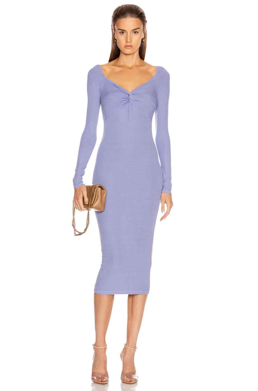 Enza Costa Rib Off Shoulder Twist Midi Dress In Mid Blue Fwrd Ribbed Midi Dress Outfit Ribbed Midi Dress Winter Dress Outfits [ 1440 x 953 Pixel ]
